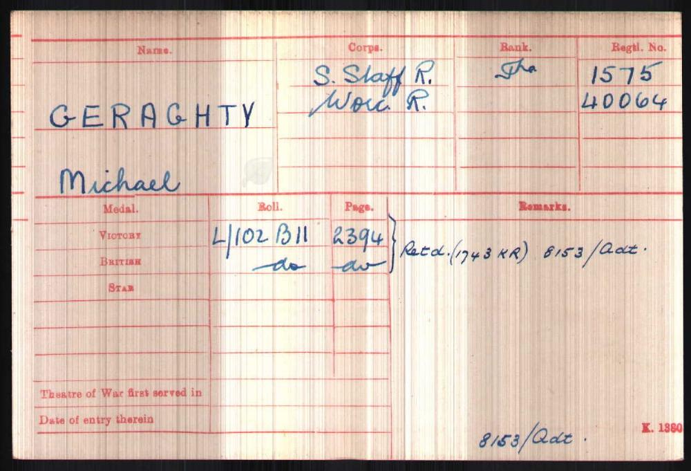 British Army WW1 Medal Rolls Index Card for Michael Geraghty