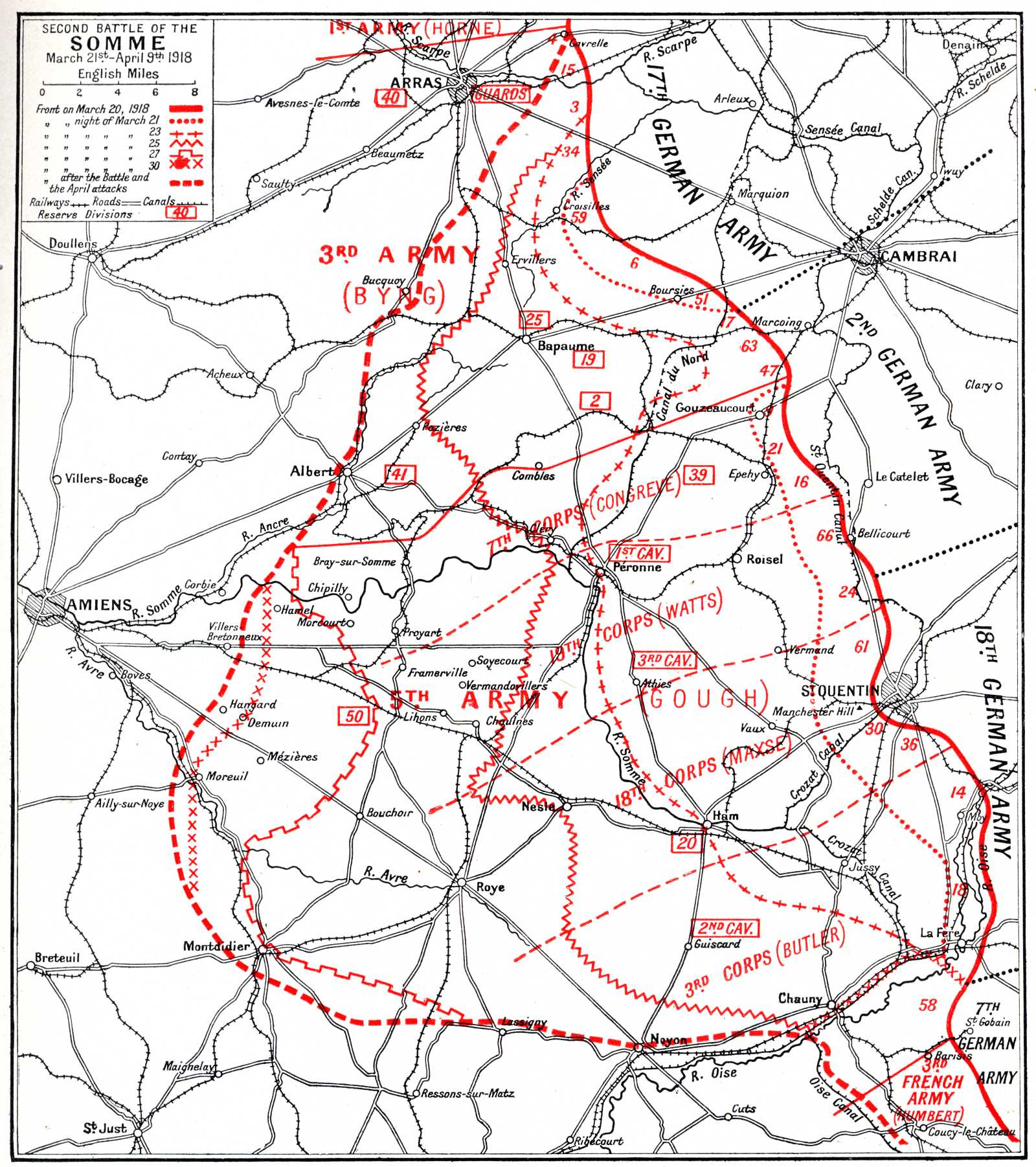 Map of The Second Battle of the Somme