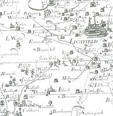 Robert Pilot's map of Staffordshire 1680 showing Brownhill