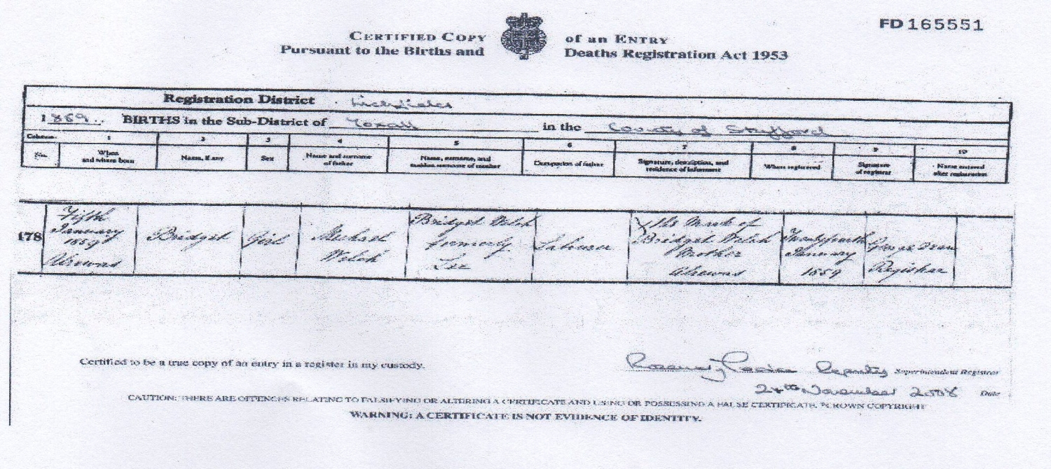 Birth certificate of Bridget WELCH the mother of John MALLEY