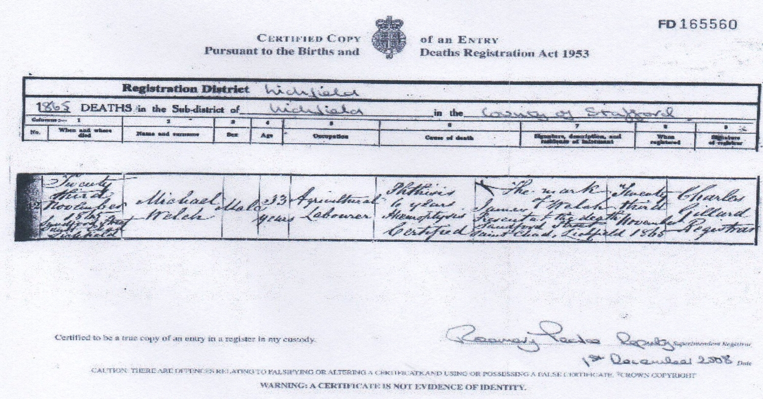 Death certificate of Michael WELCH, grandfather of John MALLEY