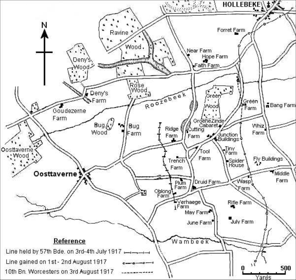 Map of the battle area during July and August 1917