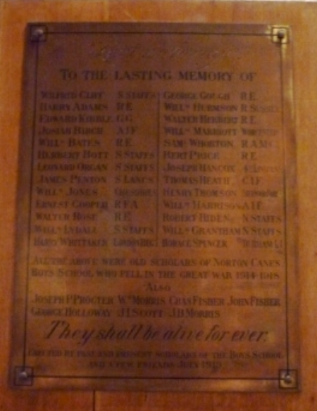 The memorial plaque at the Church of St James the Great, Norton Canes