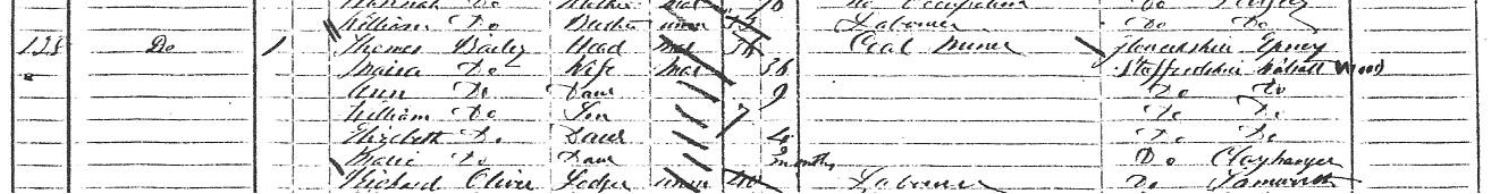 Extract from the 1871 census