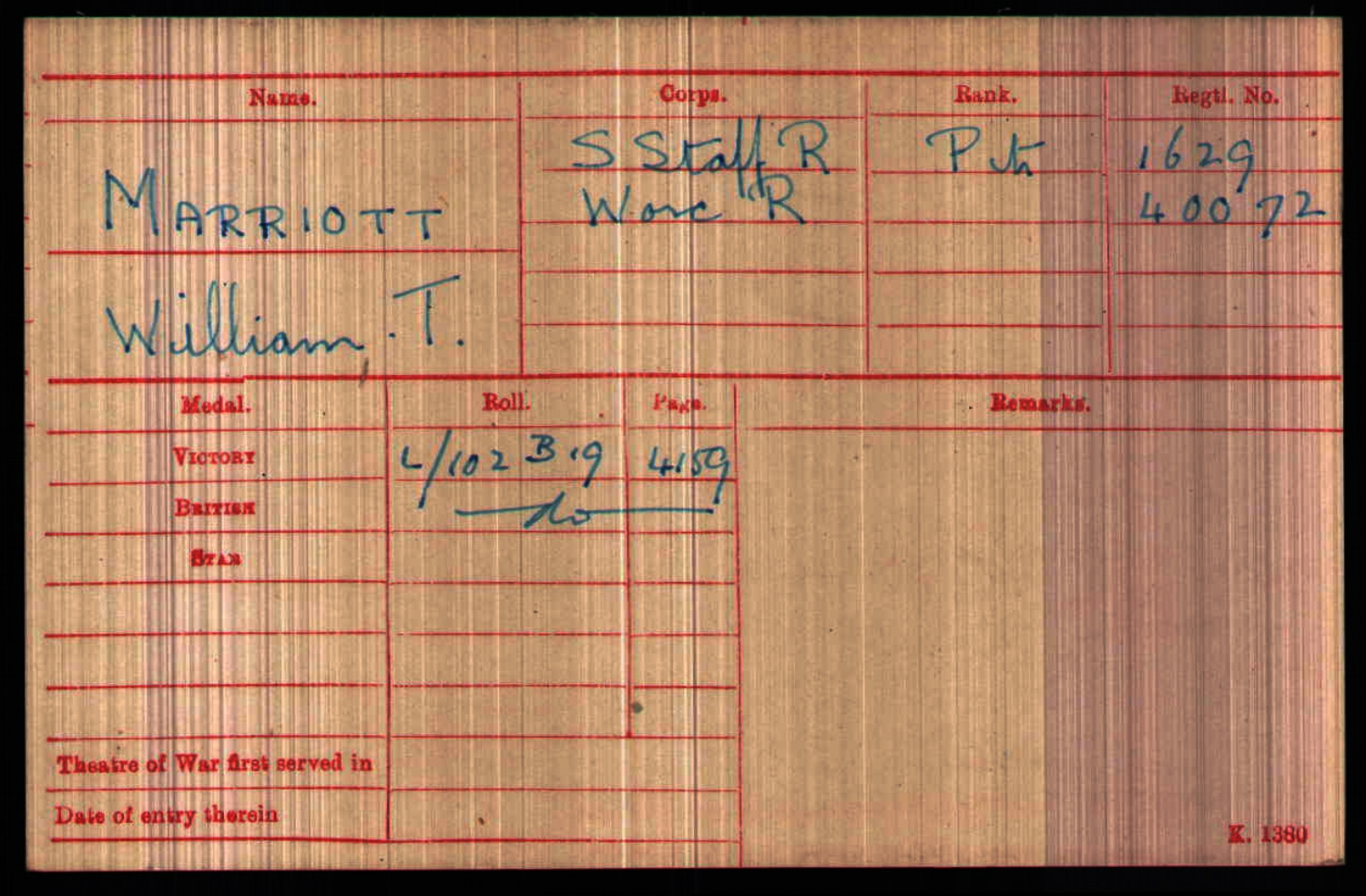 The Record Card for William Thomas Marriott