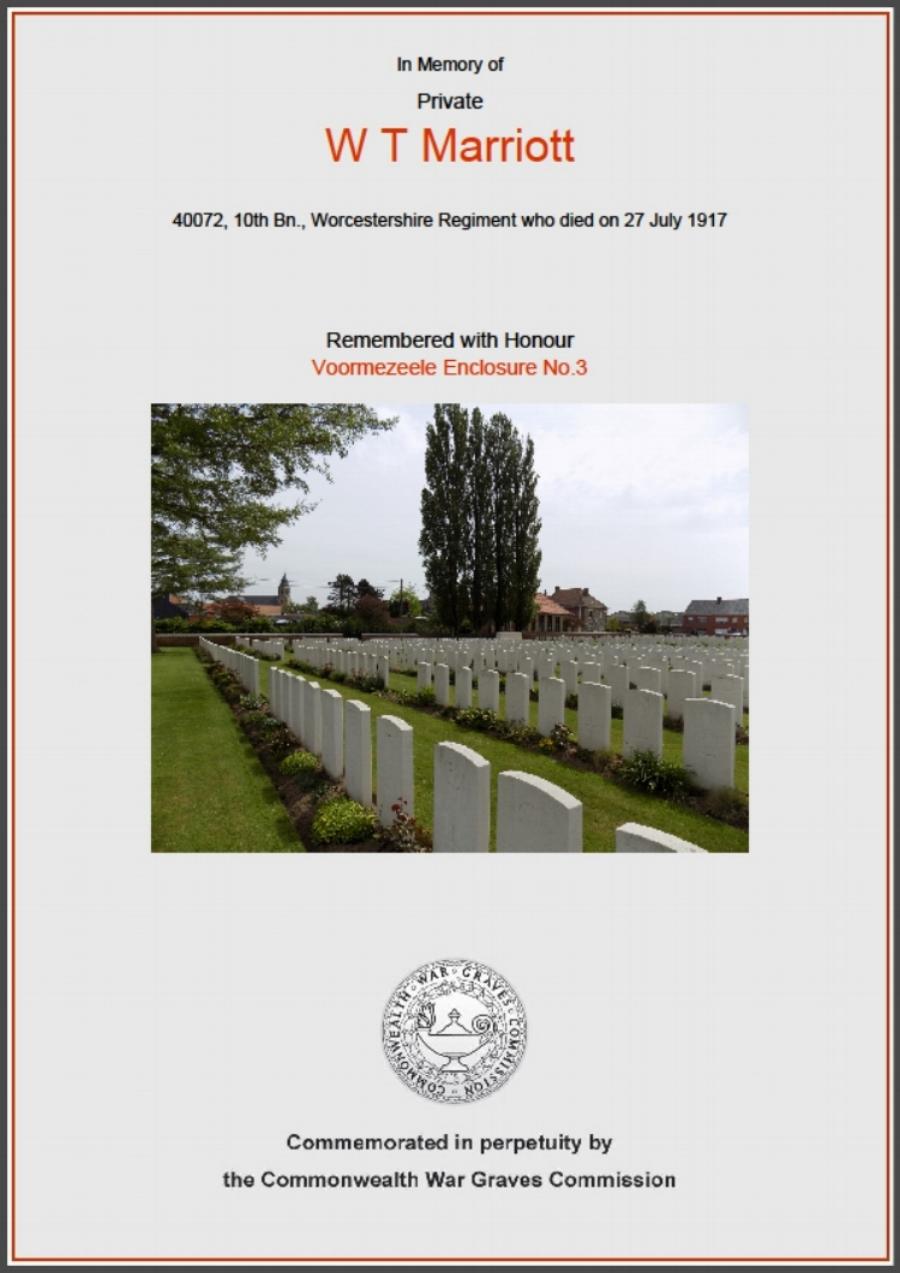 CWGC Commemorative Certificate for William Thomas Marriott