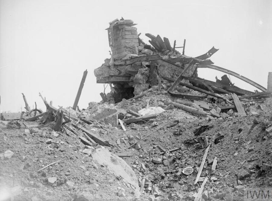 Ruined German stronghold on Messines Ridge For two and a half years the Germans on Messines Ridge had dominated Ypres Salient. On June 7th, 1917, the British carried the ridge and reduced to dust positions previously deemed impregnable.