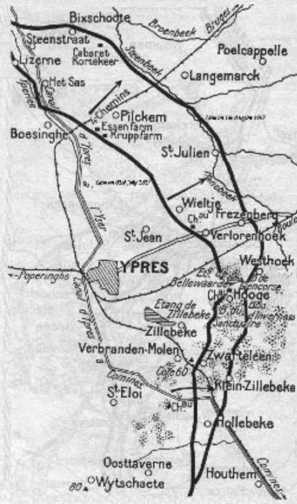 Map of the Ypres region. William was killed at Oosttaverne Woods on 7th June 1917.