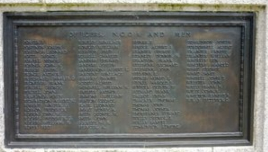 The panel from the Hednesford War Memorial on which the name of Private Dennis Hayward Stanley is commemorated.