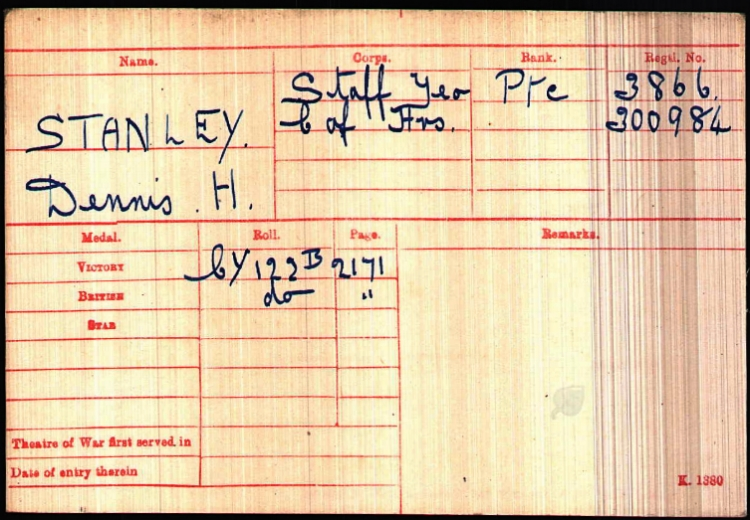 British Army WWI Medal Rolls Index Card, 1914-1920, for Private Dennis Hayward Stanley