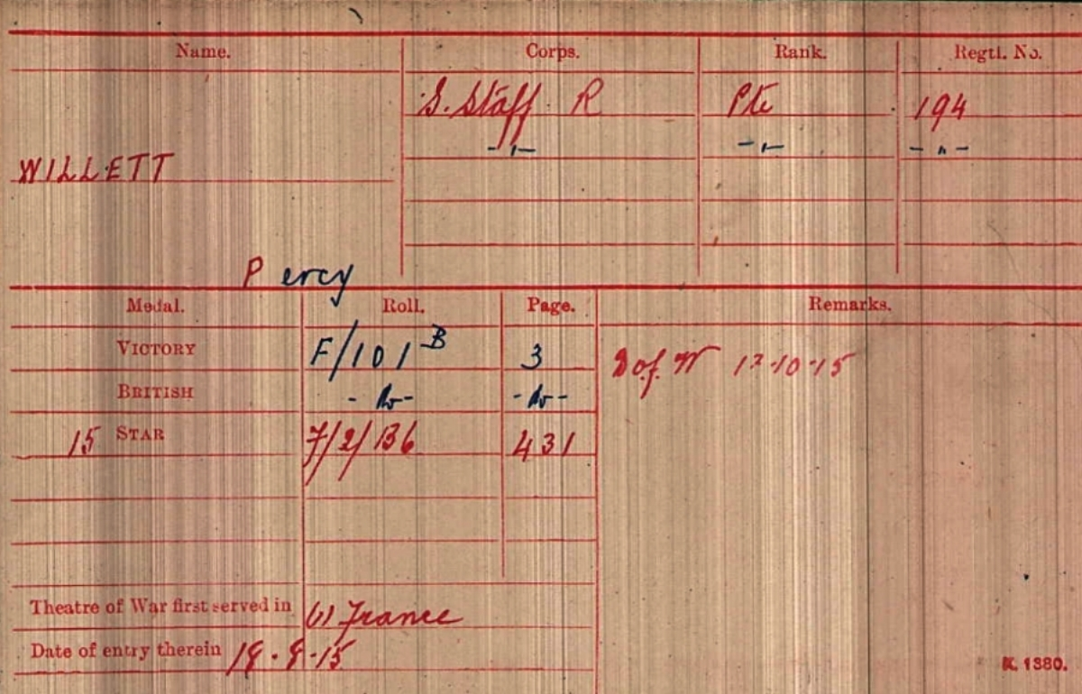 British Army WWI Medal Rolls Index Card (1914-1920) for 194 Private Percy Willett