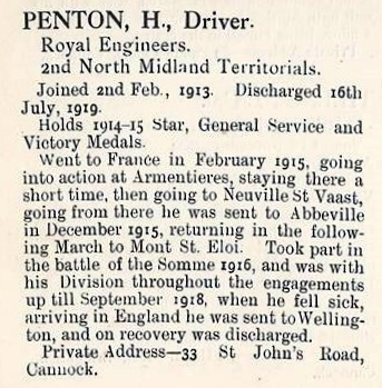 "Extract for Harry Penton from ""The Roll of the Great War"""
