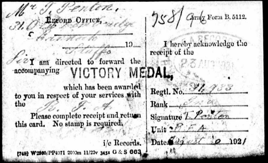 Signed receipt for Thomas Penton's Victory Medal