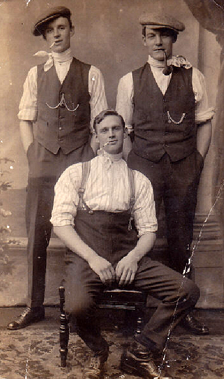 Boxing Photograph of James Penton, seated, with his elder brother Tom Penton and (probably) his younger brother Charles Penton standing behind