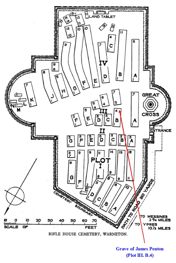 Plan of Rifle House Cemetery showing the location of the grave of James Penton