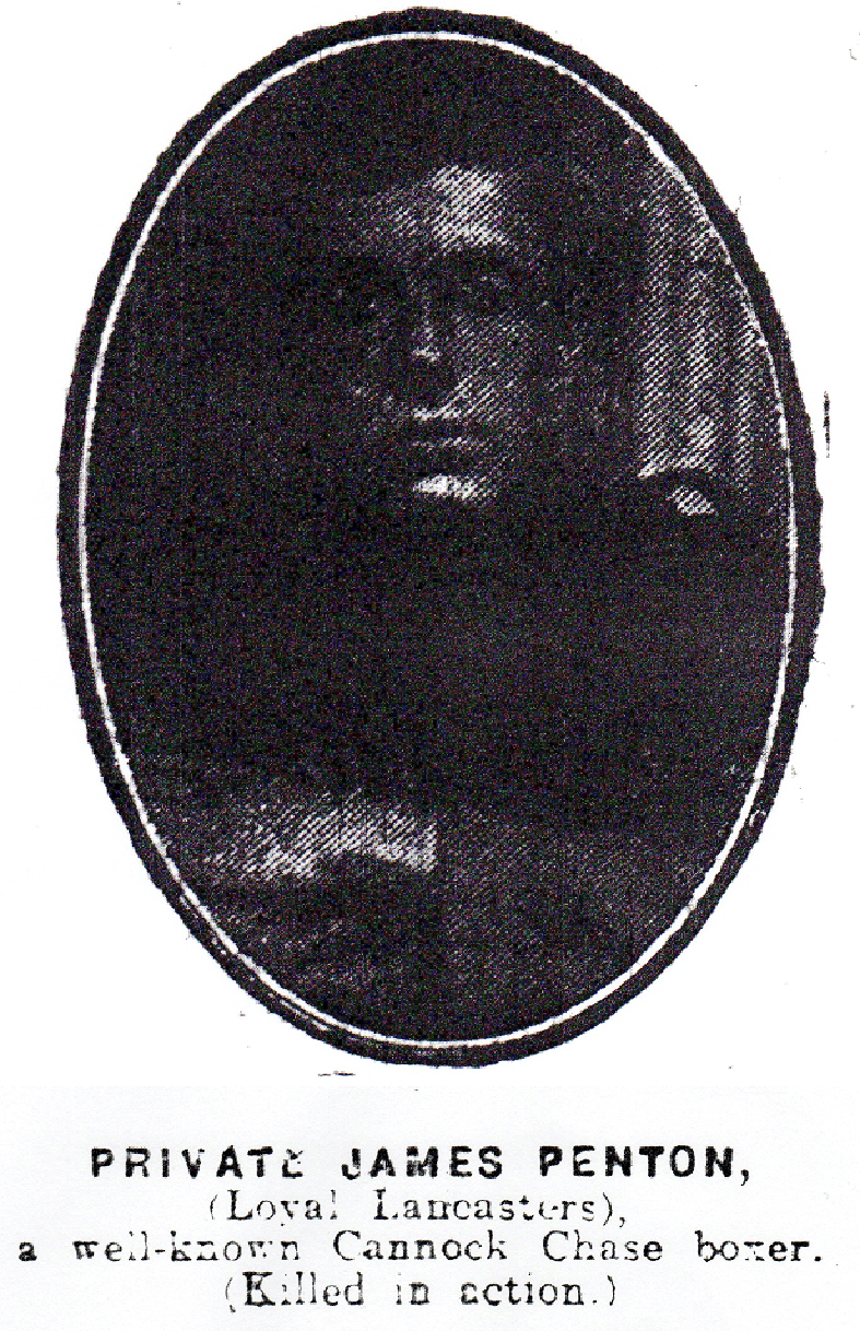 Photograph of Private James Penton  from the Walsall Observer, 29 January 1916