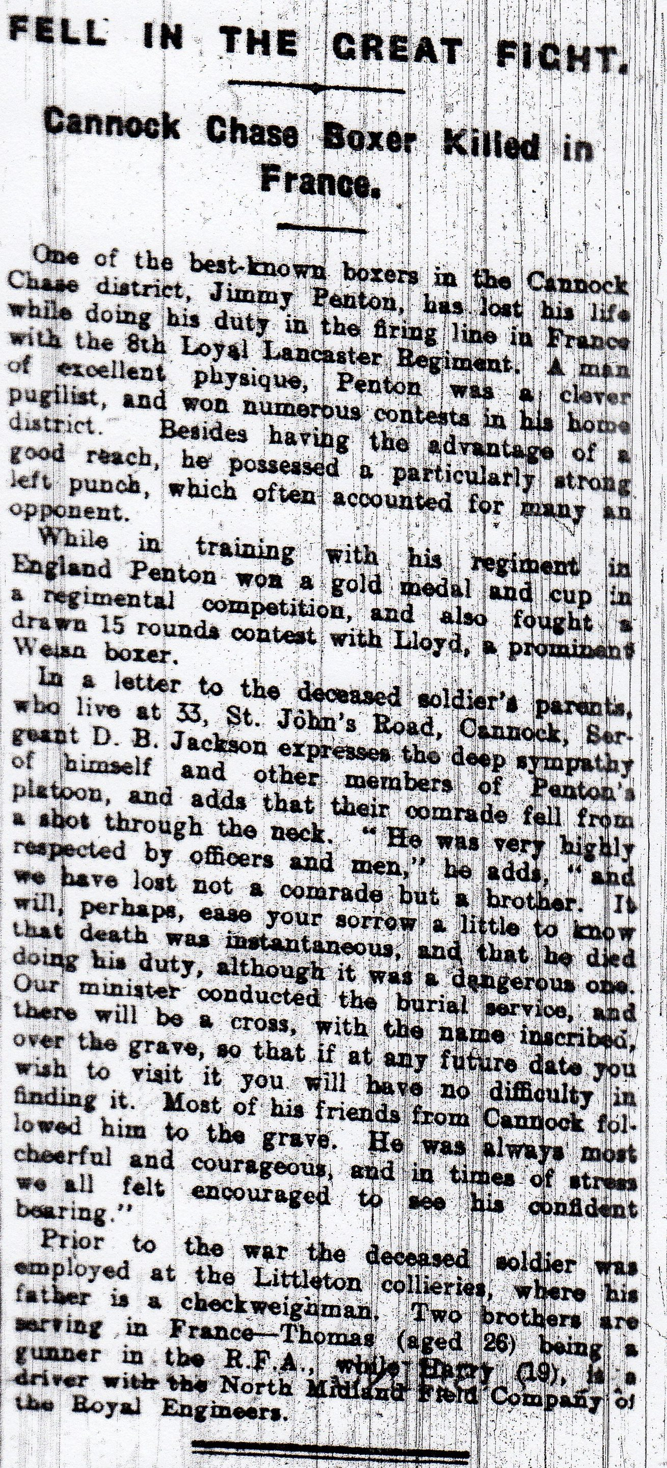 Article about the death of Private James Penton  from the Walsall Observer, 29 January 1916