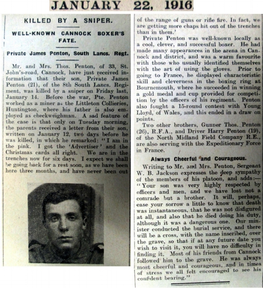 Article about the death of Jim Penton from the 22 January 1916 Cannock Advertiser