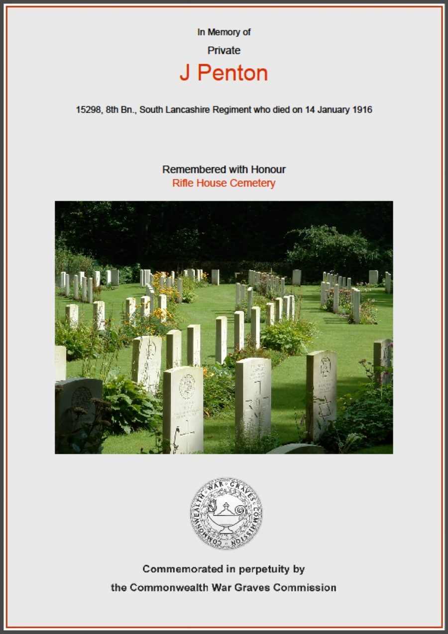 Commonwealth War Graves Commission Certificate in memory of James Penton