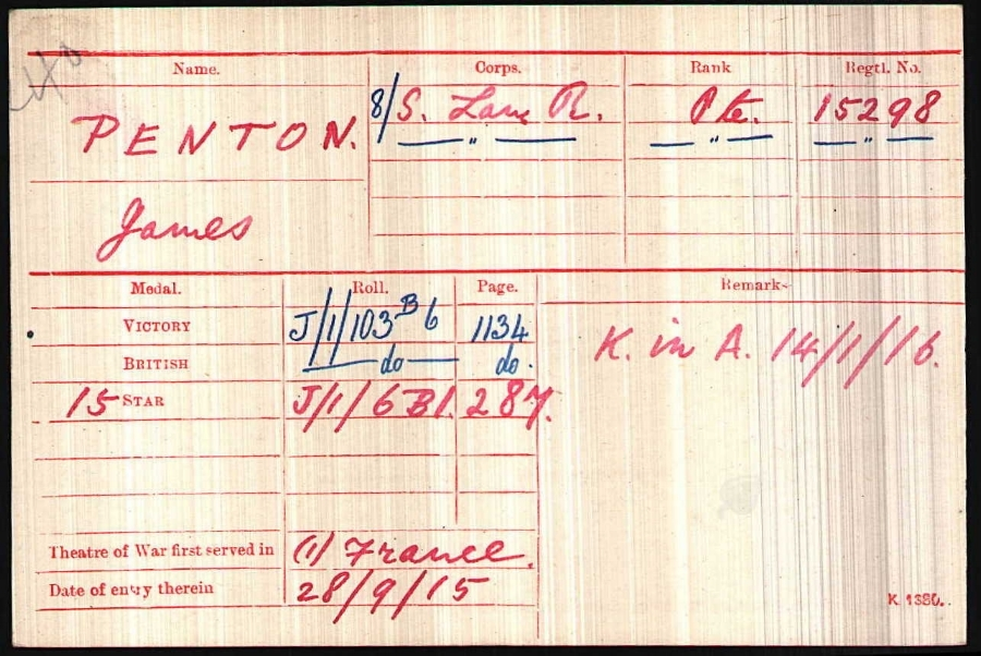 Private James Penton's medal card