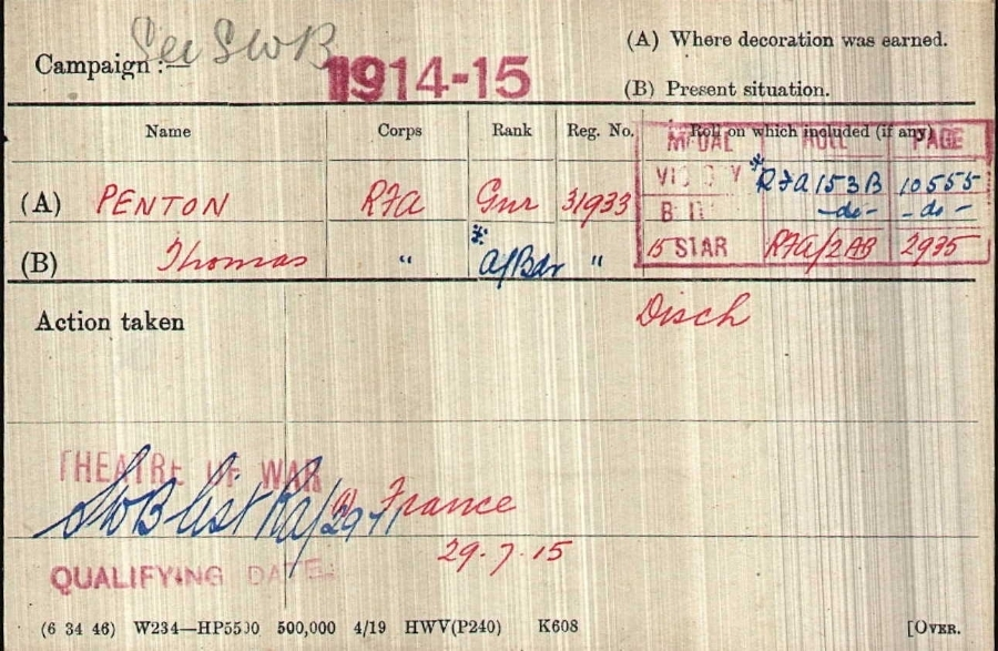 Medal Card for Lance Bombardier Thomas Penton's medal card © Ancestry