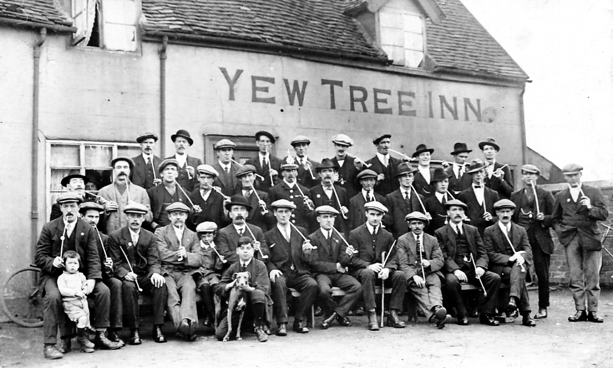 Photograph of the 'Churchwarden' Clay Pipe Club, taken at the Yew Tree Inn, Mill Street Cannock. Harry Penton is on the extreme right.