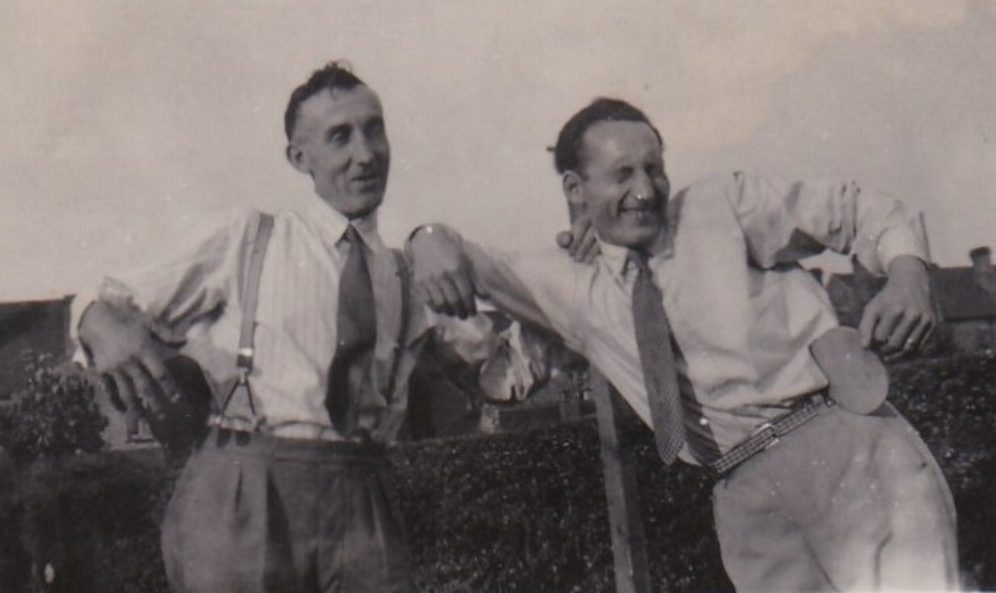 Ted Penton (right) with Charlie's son Stan Penton at Ted's home, 25 Broad Street, Bridgtown Cannock, in 1947