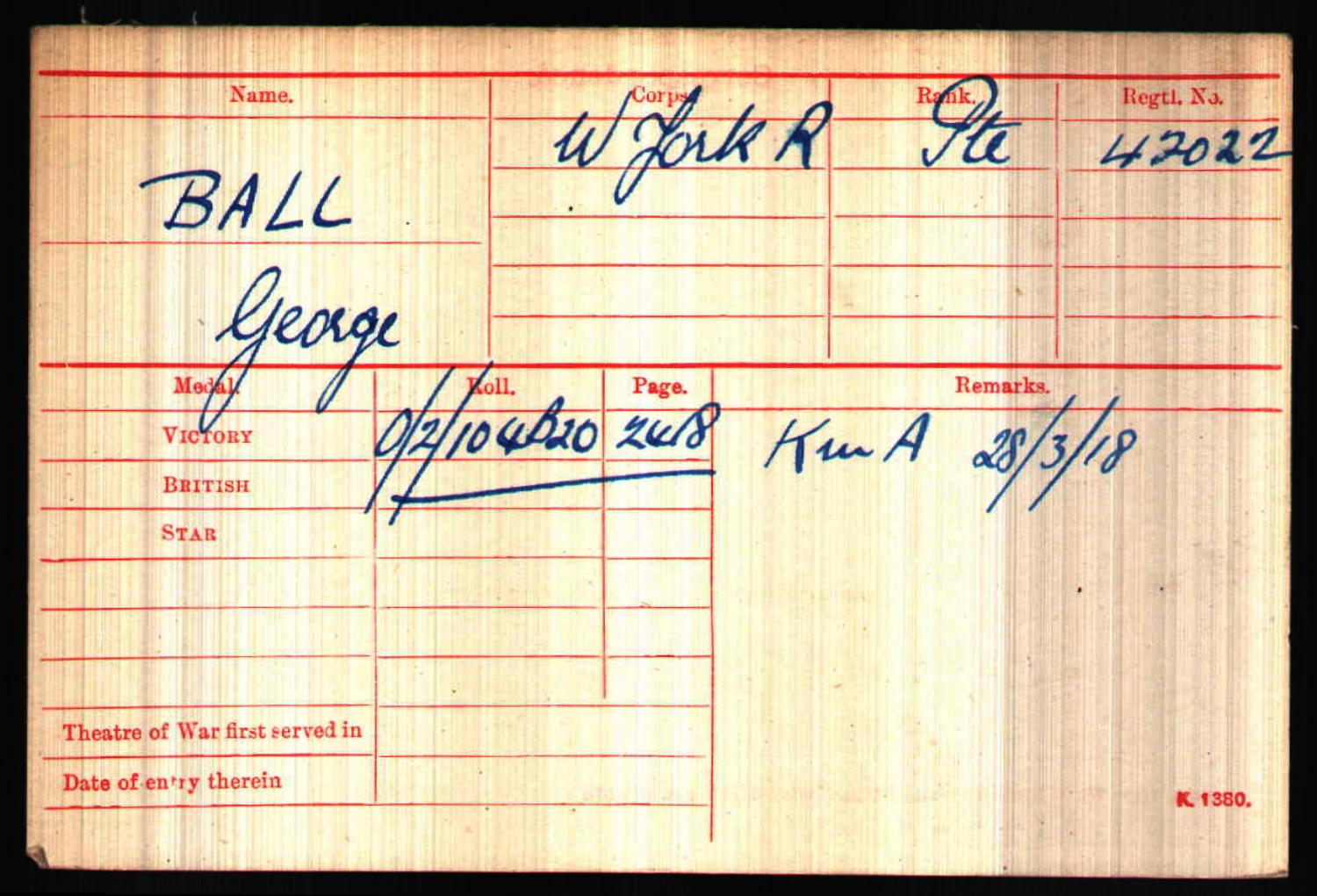 British Army World War I Medal Roll Index Card, 1914-1920, for 42022 Private George Michael Ball
