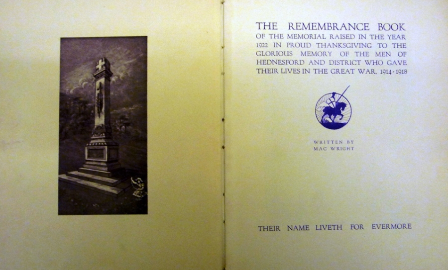 The Remembrance Book of Hednesford and District War Memorial