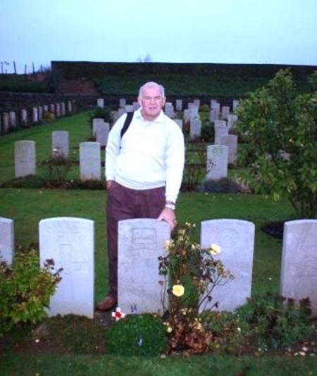 Alan Betts visiting the grave of 42022 Private George Michael Ball