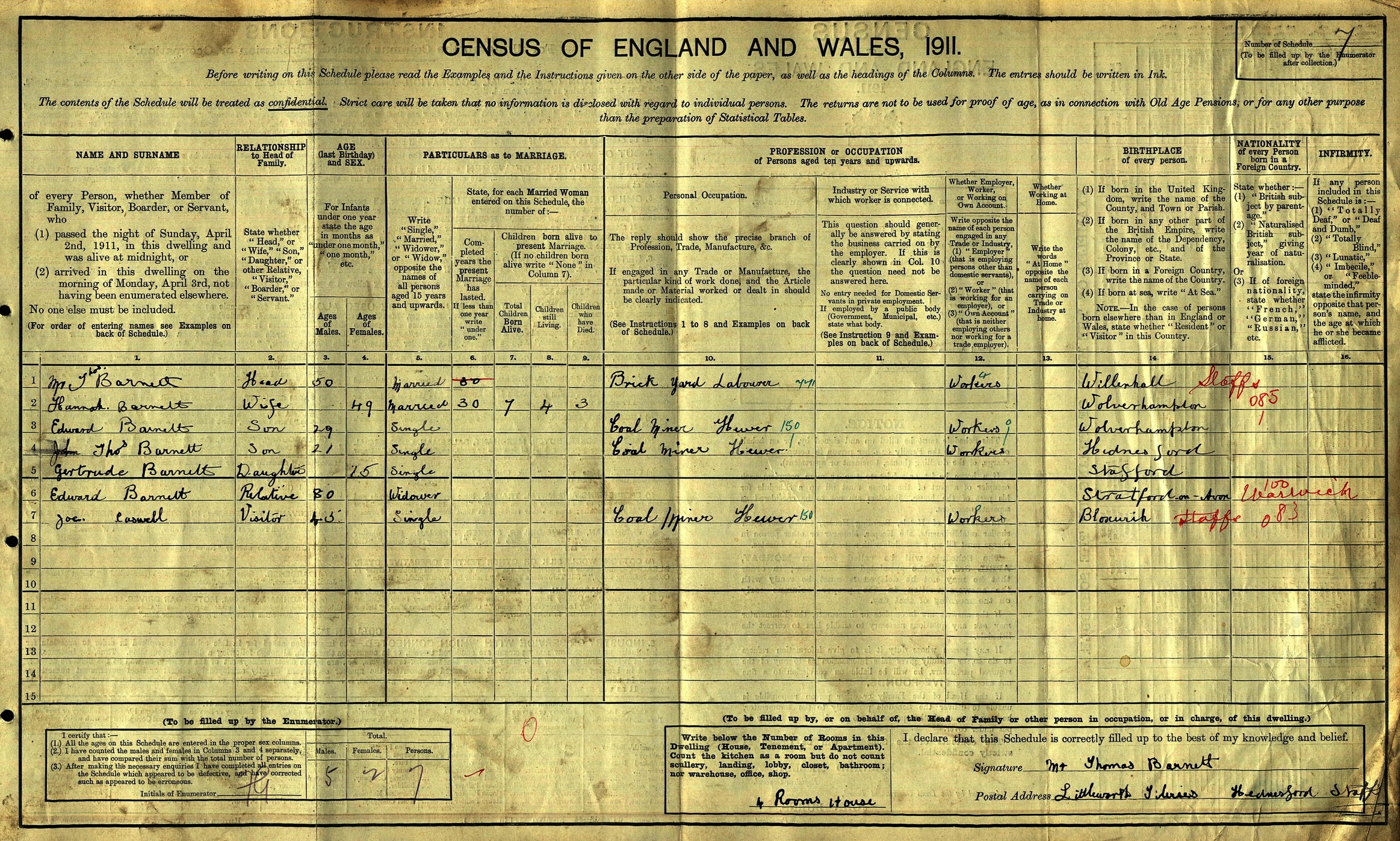 Extract from the 1911 census for the family of Thomas and Hannah Barnett