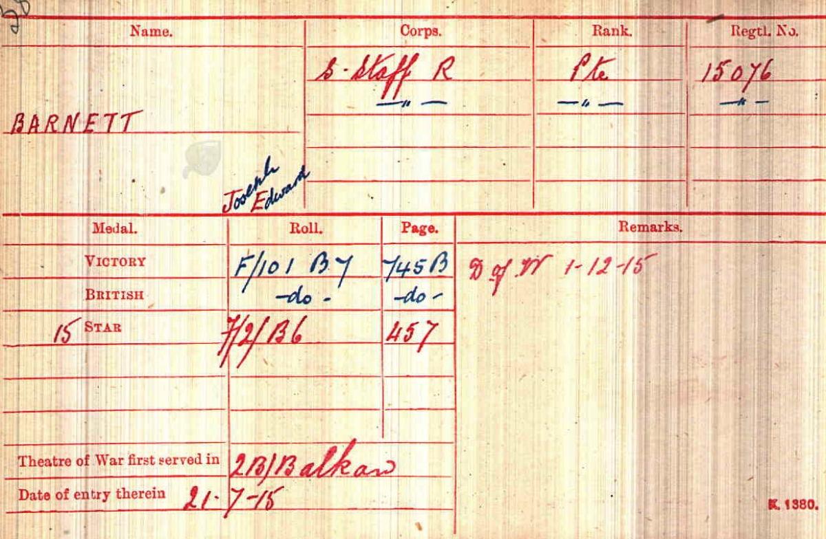 British Army World War I Medal Roll Index Card, 1914-1920, for 15076 Private Joseph Edward Barnett