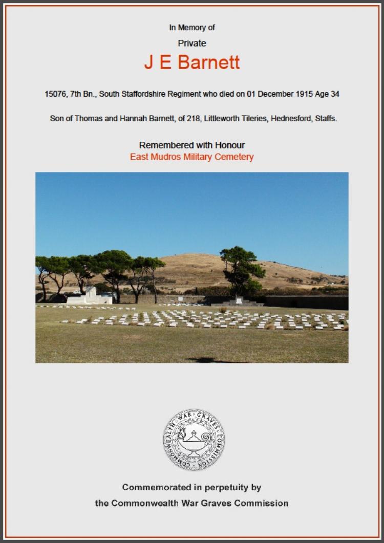 Commonwealth War Graves Commission commemorative certificate for 15076 Private Joseph Edward Barnett