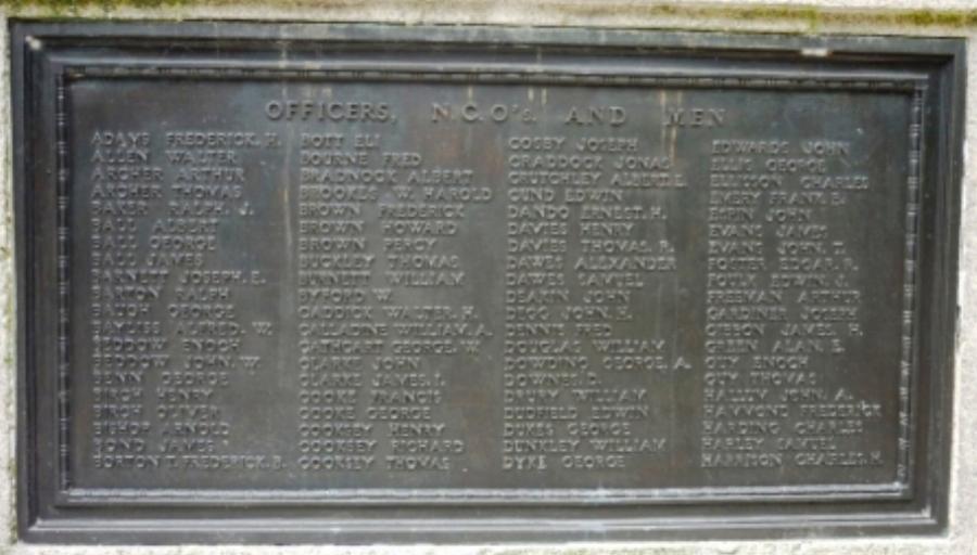 Panel on Hednesford War Memorial