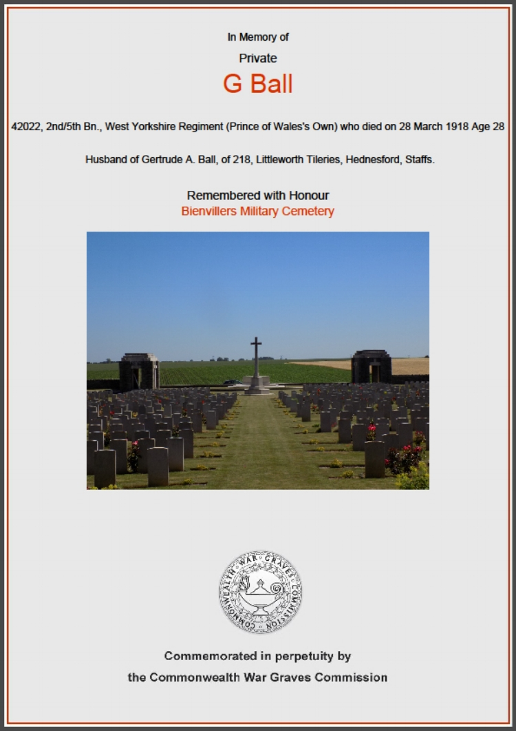 Commonwealth War Graves Commission commemorative certificate for 42022 Private George Michael Ball