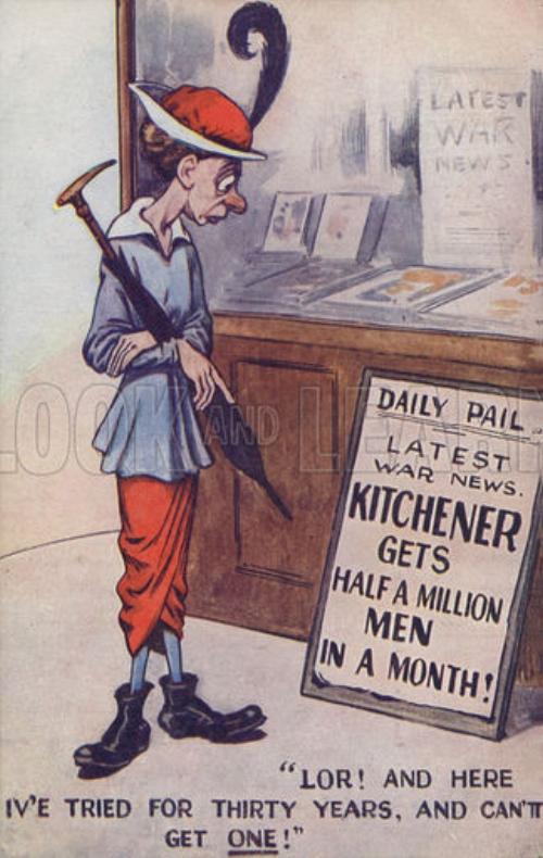 WW1 cartoon propaganda postcard about army recruitment