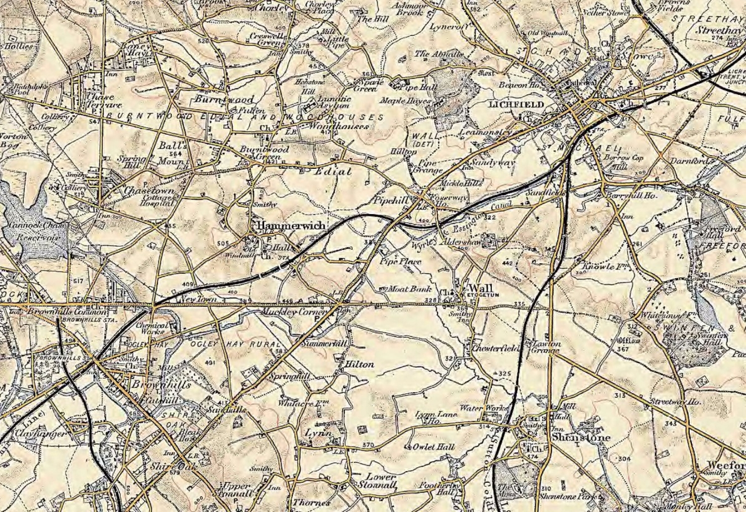 Section of UK, Revised New Series Maps, 1896 – 1904, showing the area around Wall in Staffordshire