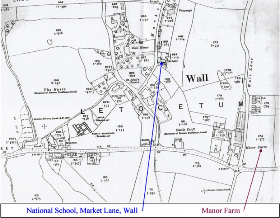 Section of the 1923 Ordnance Survey showing Wall and the surrounding area