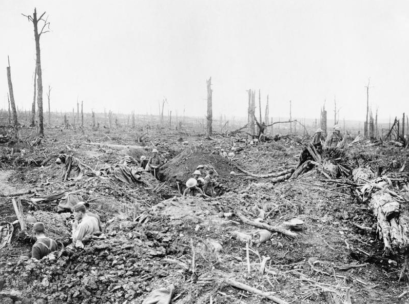 Soldiers digging a communication trench through Delville Wood, July 1916.