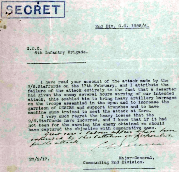Letter, dated 20 February 1917, from Major-General Cecil Edward Pereira, Commander of the 2nd Division, to Brigadier-General Richard Knox Walsh, General Officer commanding the 6th Infantry Brigade, regarding the attack by the 2nd Battalion South Staffordshire Regiment on 17 February 1917 {extract from the War Diary of the 2nd South Staffordshire Regiment}