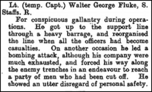 The citation that appeared on page 10170 of the London Gazette on 20 October 1916 regarding the award of the Distinguished Service Order to Captain Walter George Fluke