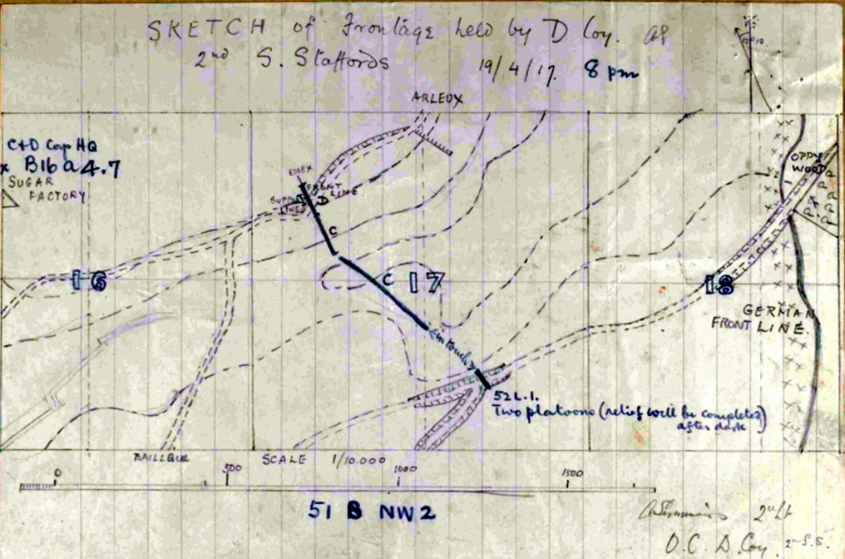 Sketch map of the 2nd Battalion's position on 18 and 19 April 1917 {extract from the War Diary of the 2nd South Staffordshire Regiment}