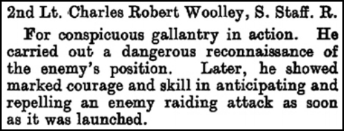 The citation that appeared on page 2197 of the Supplement to the London Gazette on 3 March 1917 regarding the award of the Military Cross to 2nd Lieutenant Charles Robert Woolley