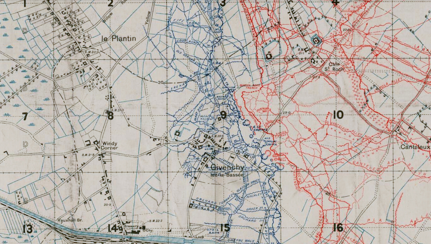 Section of the British WW1 Trench map 36C N.W. showing the trenches in the Givenchy­-lès-la-Bassee area