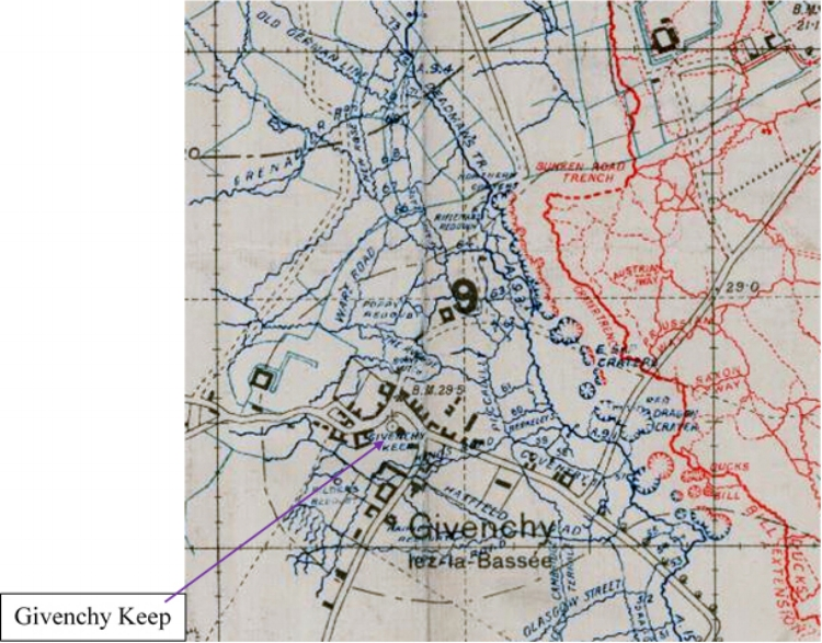 Enlargement of the section of the British WW1 Trench map 36C N.W. showing the British trenches (blue) and German trenches (red) in the Givenchy­-lès-la-Bassée area