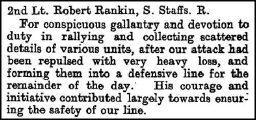 Citation that appeared on page 7637 of the Supplement to the London Gazette on 26 July 1917 regarding the award of the Military Cross to 2nd Lieutenant Robert Rankin