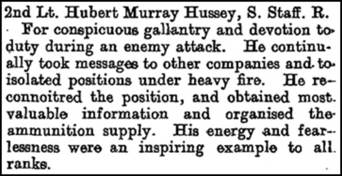 Citation that appeared on page 8463 of the Supplement to the London Gazette on 18 July 1918 regarding the award of the Military Cross to 2nd Lieutenant Hubert Murray Hussey