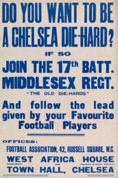 "1914 Recruitment poster for the 17th Battalion Middlesex Regiment, the ""Football Battalion"""