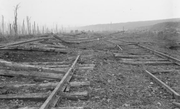 The destruction caused by enemy shelling of the light railway in WW1