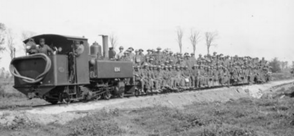 Troops aboard the light railway